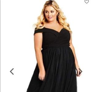 Size 26 black tulle gown